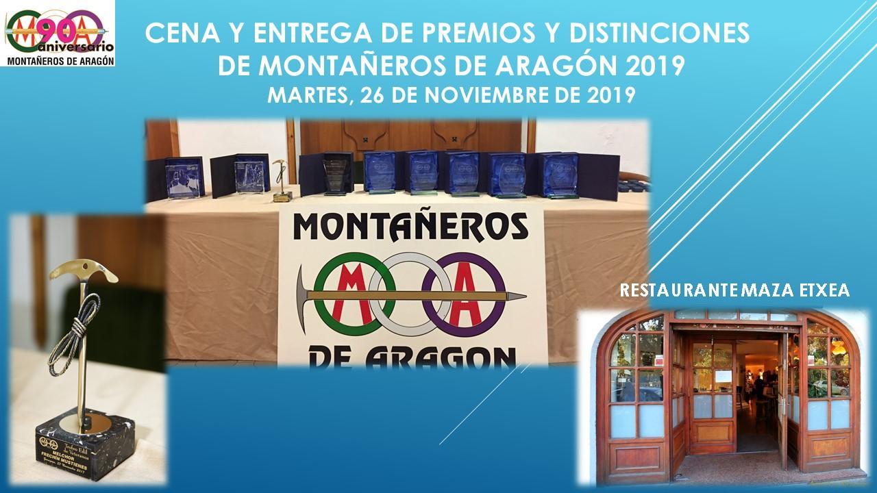 CENA Y ENTREGA DE PREMIOS Y DISTINCIONES DE MONTAÑEROS DE ARAGÓN